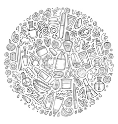 Set of manicure cartoon doodle objects vector