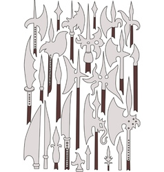 Set of medieval weaponry spears halberds and peak vector