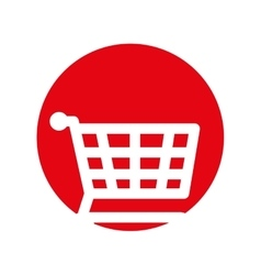 Shopping cart online buy symbol red circle vector