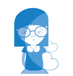Silhouette pretty girl with hearts and glasses vector