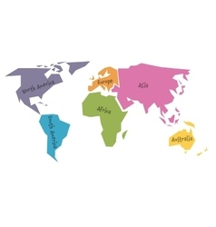 Simplified world map divided to six continents in vector