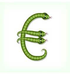 Snake font Euro symbol vector image vector image