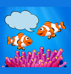 Two clowfish swimming under the sea vector