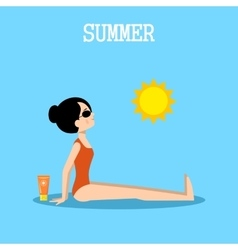Woman sunbathes on the beach vector image