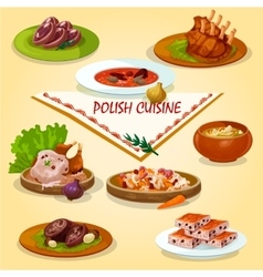 Polish cuisine rustic dinner with dessert icon vector