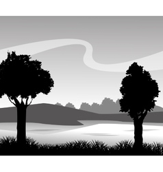 Grass and landscape silhouette design vector