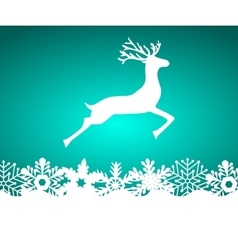 Reindeer on blue background with snowflakes vector
