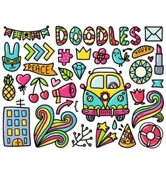 Doodles cute color elements vector image