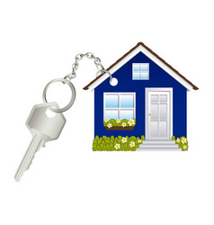 3d realistic metal key with keyring in house shape vector image