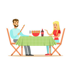 Happy couple enjoying barbeque cheerful man and vector