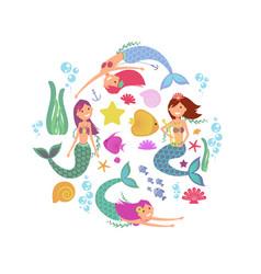 cartoon swimming mermaids and sea underwater vector image