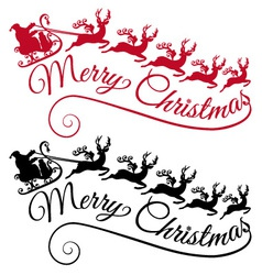 Santa with his sleigh and reindeer vector image