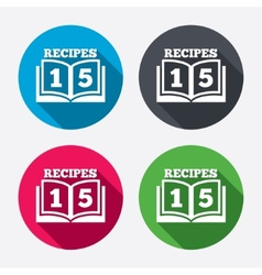 Cookbook sign icon 15 recipes book symbol vector