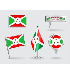 Set of burundi pin icon and map pointer flags vector