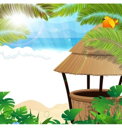 Tropical beach with cocktail bar vector