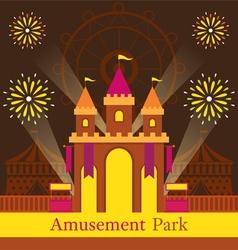Castle amusement park carnival fun fair vector