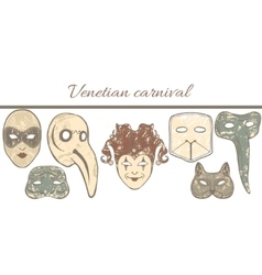 Template with composition of venetian masks vector