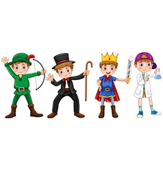 Boys in different costumes vector image