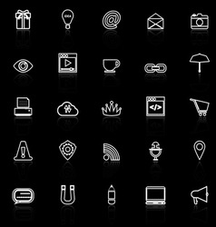 Internet website line icons with reflect on black vector