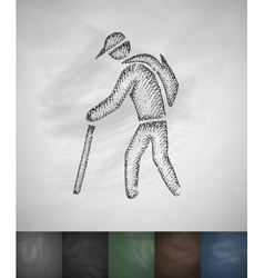 Old man with cane icon hand drawn vector