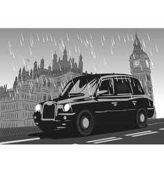 Black taxi cab moving on westminster bridge vector