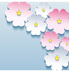 Abstract floral stylish background with 3d flowers vector