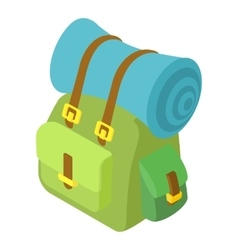 Backpack with mat icon isometric 3d style vector image