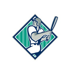 Baseball Hitter Batting Diamond Retro vector image