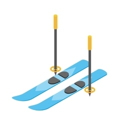 Blue skis and ski poles icon isometric 3d style vector image vector image