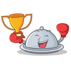 Boxing winner tray character cartoon style vector