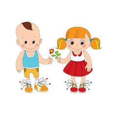 boy and girl character vector image