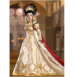 Cartoon fairy queen in a luxurious dress vector