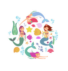 Cartoon swimming mermaids and sea underwater vector