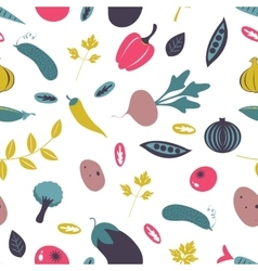 Colorful farm vegetables seamless pattern vector image