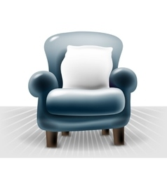dark blue leather chair with a white pillow in vector image