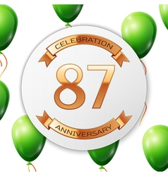 Golden number eighty seven years anniversary vector