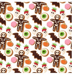 Halloween cookie seamless pattern background food vector