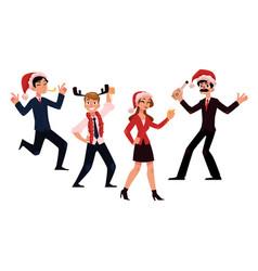 Happy people in santa claus hats enjoying vector