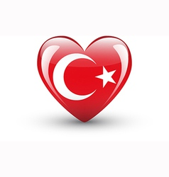 Heart-shaped icon with national flag of Turkey vector image vector image