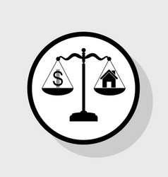 House and dollar symbol on scales flat vector