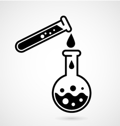 Laboratory test icon with test tube and flask vector image vector image