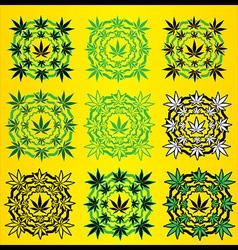 Marijuana leaves geometric design stamps vector image vector image