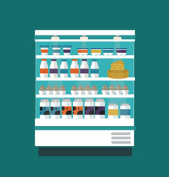 Milk products shop stall vector