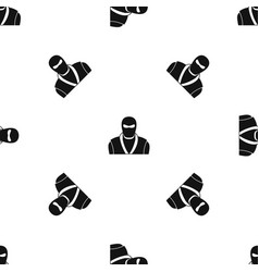 Ninja in black mask pattern seamless black vector