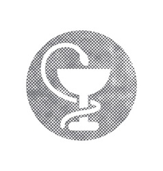 Pharmacy icon with caduceus symbol with pixel vector
