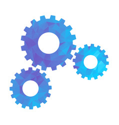 polygon blue icon gear vector image