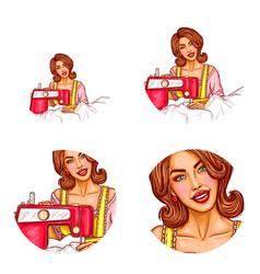 Pop art avatar of woman dressmaker for chat vector