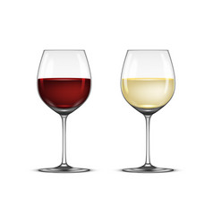 realistic wineglass icon set - with white vector image vector image