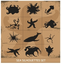 Sea animals silhouettes underwater symbols set vector image vector image