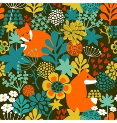 SeamLess background with cute night fox in the vector image